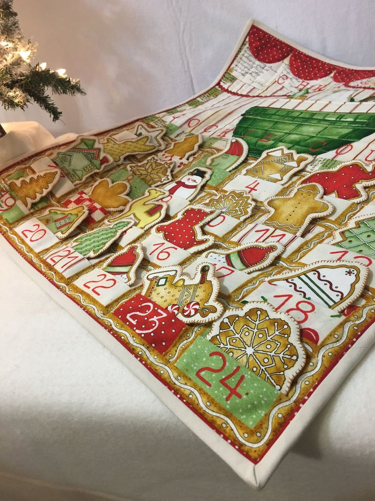 Advent Calendar Quilted Wall Hanging Holiday Decor Cookie Countdown QuiltsyHandmade by lynndalou on Etsy