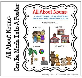 List of Nouns Page for Writing BInder or Poster for Classroom~Item Description~List of Nouns PosterItem Description~As I started to teach nouns in my classroom, I felt like my students needed a visual to remind them of what a noun was.  This page not only does this, but also gives them examples of what a noun could be.
