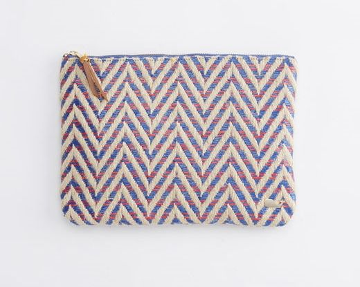 Chevron Straw Zip Clutch
