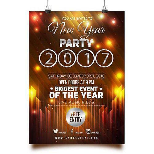 En güzel dekorasyon paylaşımları için Kadinika.com #kadinika #dekorasyon #decoration #woman #women free vector Happy New Year 2017 Party Greeting Poster