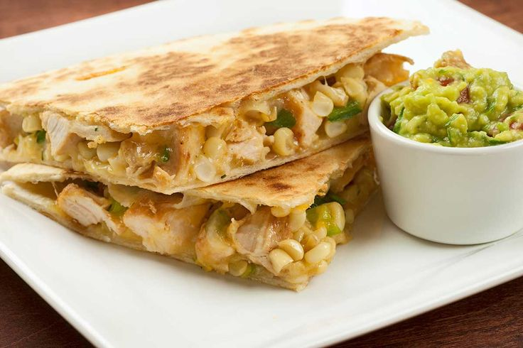 Chicken, Poblano and Corn Quesadillas: A satisfying quesadilla filled with chicken, sauteed corn and poblano peppers, cilantro and Monterey Jack cheese.