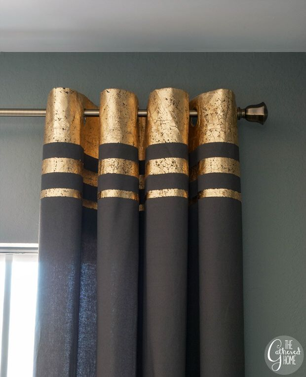 "DIY- gold leaf embellished curtains:Try the tutorial for DIY gold leaf embellished curtains from Brynne at 'The Gathered Home'. Easy and detailed tutorial with lot's of photos makes it simple! I would love to see this done on a coral or pink curtain for a ""rose gold"" look… How amazing is this? And so less expensive then buying them!"