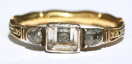 16th century table cut diamond ring -- note the skull under the center diamond