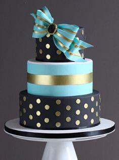 Black, Teal, Gold Cake