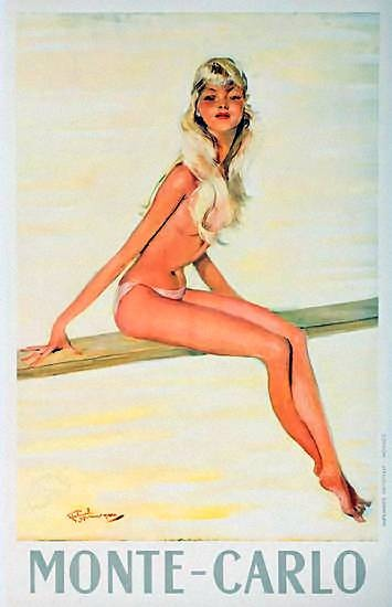 Monte-Carlo | Vintage travel poster--topless beaches