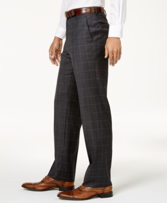 Michael Kors Men's Big & Tall Classic-Fit Dark Gray & Blue Windowpane Vested Suit - Gray 46XL