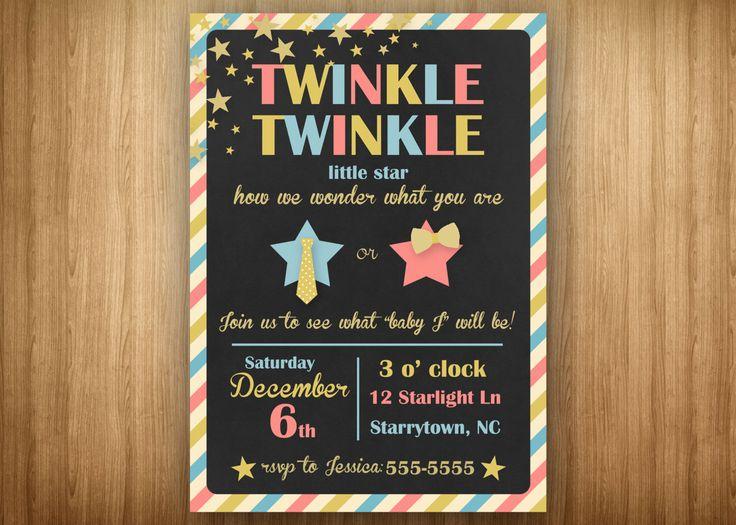 Gender Reveal Twinkle PRINTABLE Invitation Twinkle Twinkle Little Star Pink Blue Gold Chalk Tie or Bow by 3littlebirdsprints on Etsy https://www.etsy.com/listing/212065158/gender-reveal-twinkle-printable