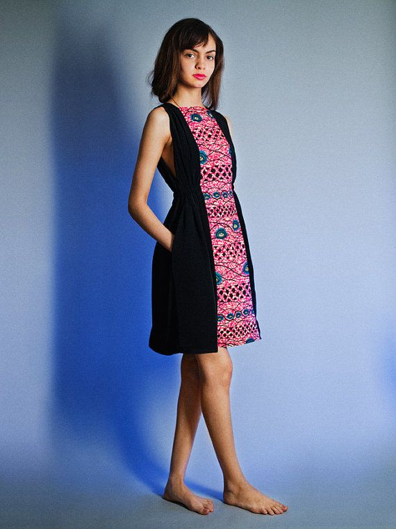 "Air Philippine Dress in Black with African Wax print Magic ""eye"" motif  super summer sale. $108.00, via Etsy."