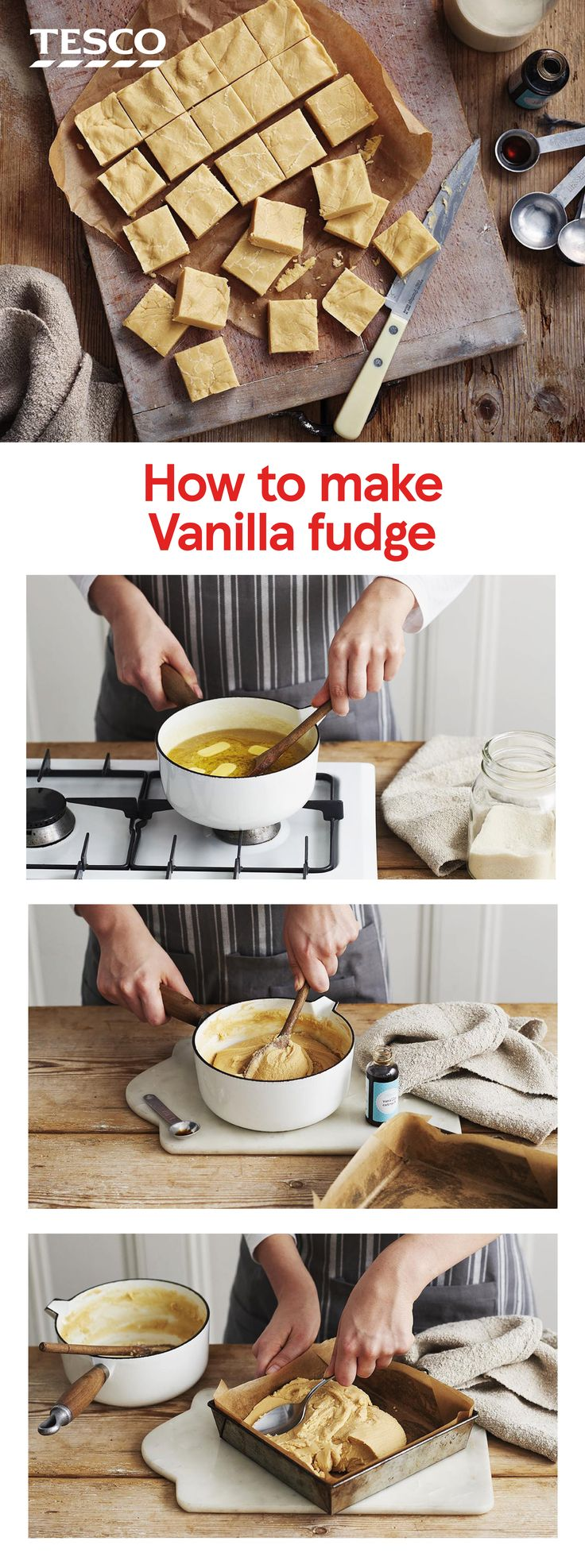 Follow our simple step-by-step fudge recipe for perfect homemade fudge every time. This sugary, sweet treat can be made at home with just a few ingredients and makes a great edible gift, too. | Tesco