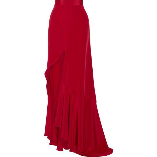 Juan Carlos Obando Mariposa asymmetric silk-satin maxi skirt ($1,930) ❤ liked on Polyvore featuring skirts, red asymmetrical skirt, ankle length skirt, juan carlos obando, floor length skirts and maxi skirt