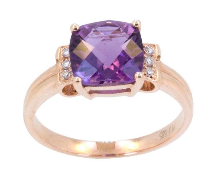 If a ring is more her style, this 14k rose gold ring has a 2.20ct Amethyst surrounded by 6 diamonds. This simple, yet elegant ring would be a perfect daily reminder of how much you care. Come down to the store today to check it out! www.gembycarati.com www.facebook.om/gembycarati
