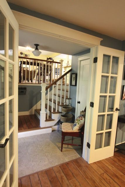Entry Foyer With Benjamin Moore Labrador Blue Paint Via Goldenboysandme Dining Room