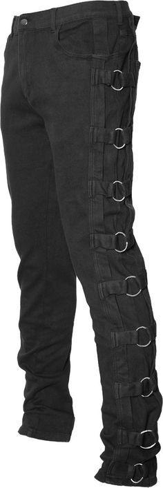 Black denim metal ring pants