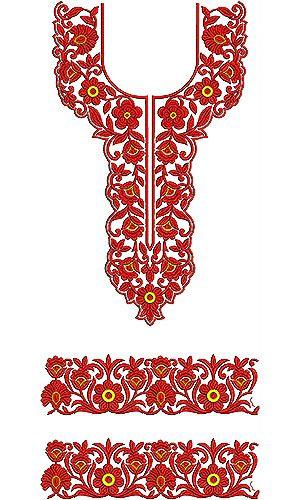 Pressed Stitch Designer Neck Yoke Gala Embroidery Designs