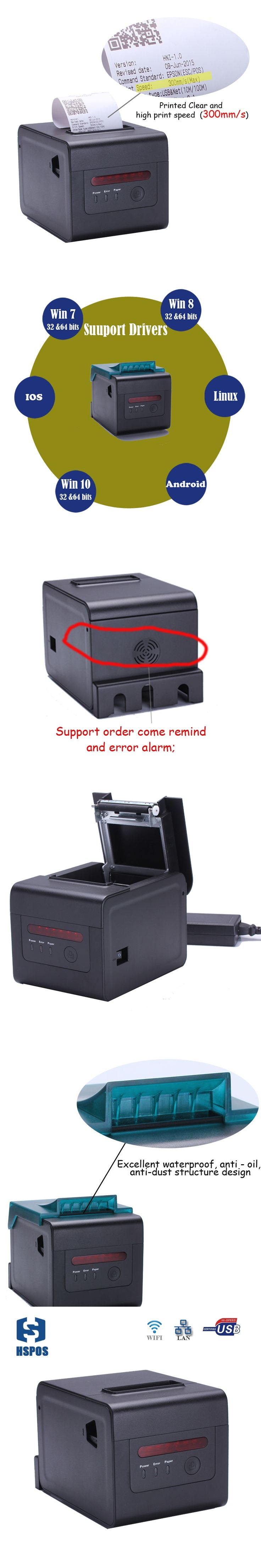 High quality rj45 thermal printer with cutter and buzzer impresora wifi 58mm 80mm pos receipt printer multifunctional device