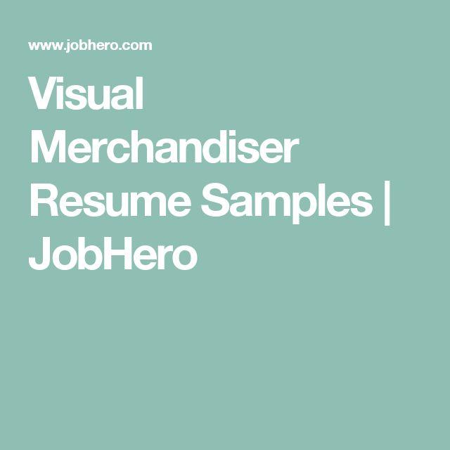Visual Merchandiser Resume Samples | JobHero