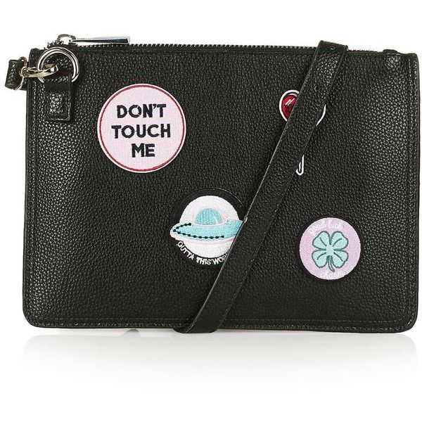 TopShop Badge Detailed Clutch (1025 TWD) ❤ liked on Polyvore featuring bags, handbags, clutches, topshop handbags, structured purse, topshop purses, structured handbags and green purse