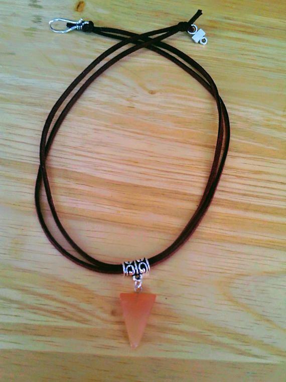 Orange necklace Triangle necklace Agate necklace Boho