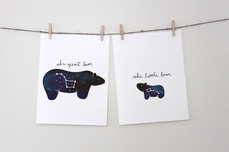Constellation Set - The Great Bear and The Little Bear - Instant Download, big dipper, little dipper, nursery art, night sky art, space art by Cantabrigia on Etsy https://www.etsy.com/listing/246296021/constellation-set-the-great-bear-and-the