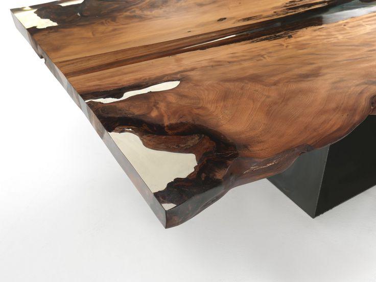 Tavolo rettangolare in legno Kauri CUBE by Riva 1920 | design Maurizio Riva, Davide Riva