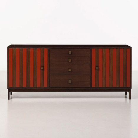 Stripes and bands appear in many of Sottsass's designs, including sideboards, tables and vases.