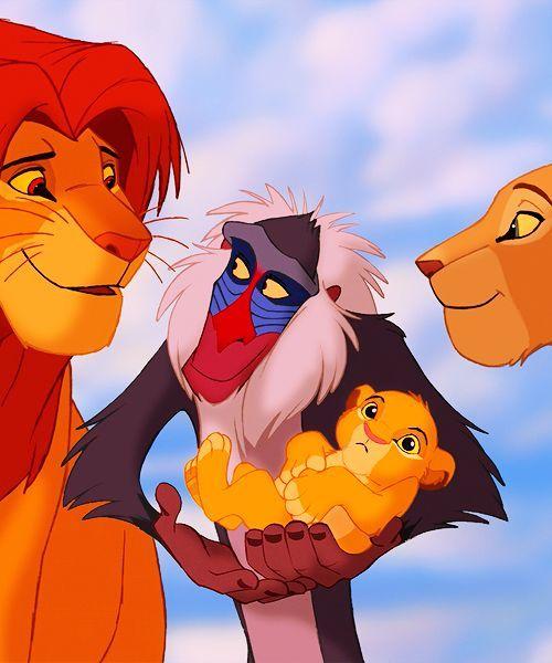 simba  nala  rafiki and the new cub