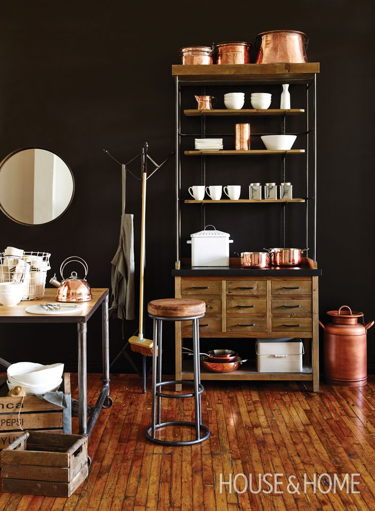 Discover how design blogger Marie-Eve Best created this dramatic pantry using copper pots from HomeSense. | Plus, enter for a chance to win a $2,500 HomeSense shopping spree at whatsyourstyle.ca | #contest #coppercookware #copper #pantry #vignette #styling #dishes #scullery #industrial