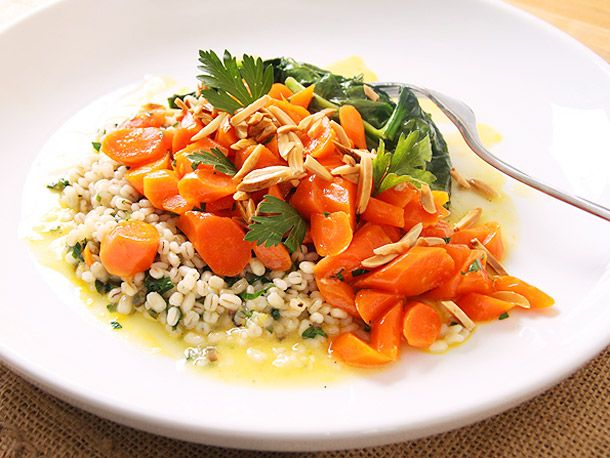 Orange-glazed Carrots with Ramp Barley and Spinach | Recipe