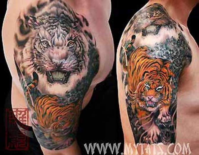 18 besten tiger shoulder tattoos bilder auf pinterest schultertattoos t towierungen und. Black Bedroom Furniture Sets. Home Design Ideas