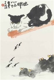Artwork by Cui Zifan, CAT, FISH, AND WATERLILIES, Made of Hanging scroll, ink and color on paper
