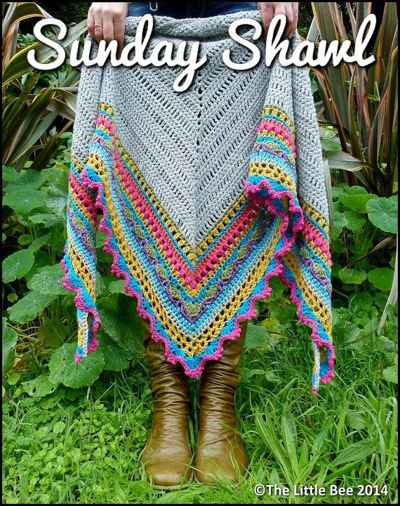 Crochet Shawl Pattern  Instant Download  Sunday by TheLittleBeeNZ