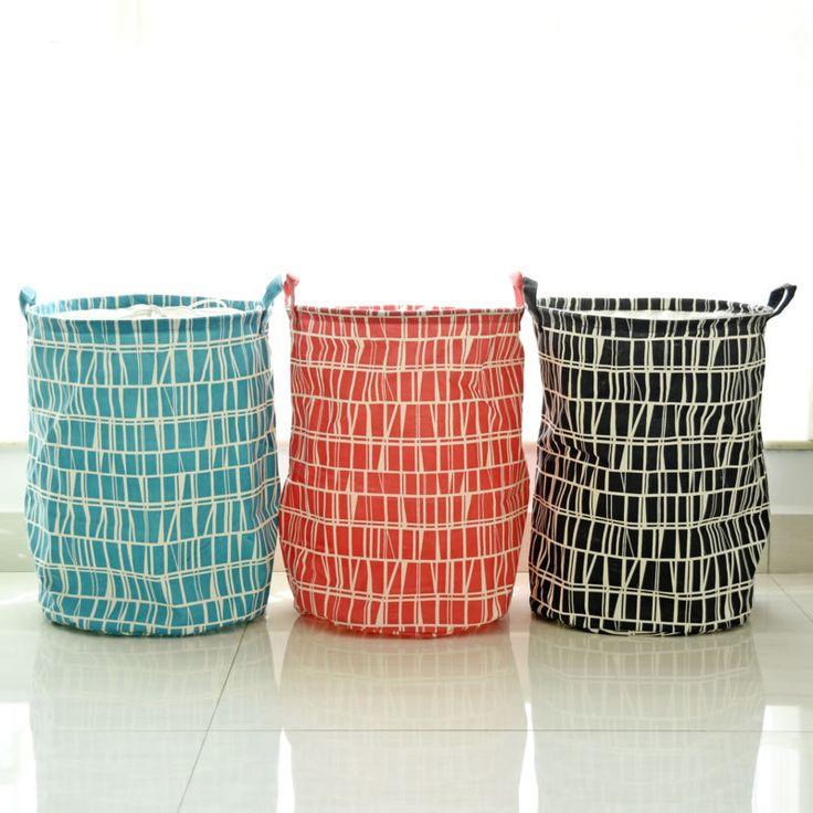 Mosaic Printing  Cotton Linen Opening Laundry Bucket Zakka Washing Hamper Folding Toy Storage Baskets