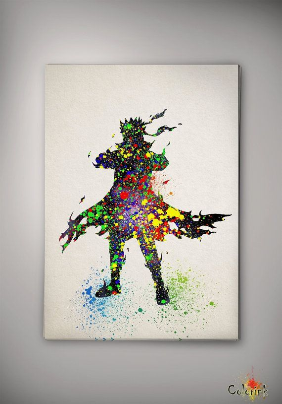 Watercolor naruto shippuuden sage six path print home for Decoration murale naruto