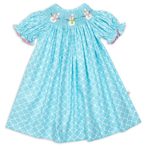 Girls Turquoise Lattice Snowmen Smock Bishop Dress – Lolly Wolly Doodle