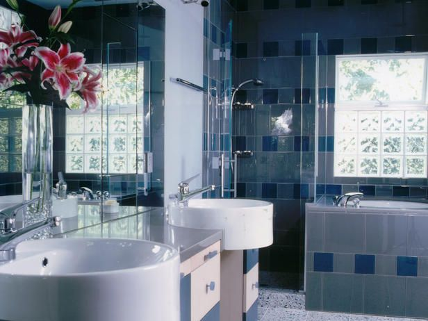 BEAUTIFULLY TILED BATH IN BLUE AND WHITE-sinks and vanities
