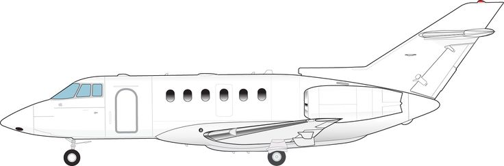 This is a drawing of the side of the Hawker 800