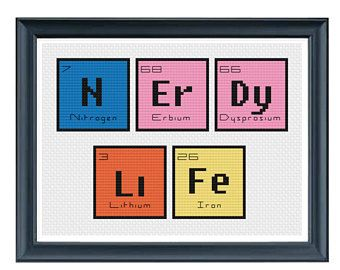 CROSS STITCH PDF - Periodic Table Nerdy Life Cross Stitch - Modern Cross Stitch Pattern - Science Geek Cross Stitch Instant Download