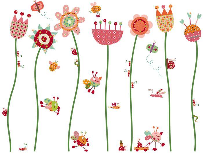 Vinilo decorativo infantil | Flores Contentas