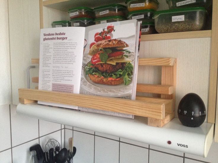 Simple but effective cookbook stand made from scrap wood. Great for a small kitchen with limited counter space.