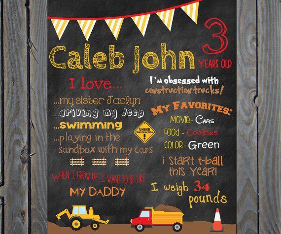 custom construction truck theme birthday poster board sign printable