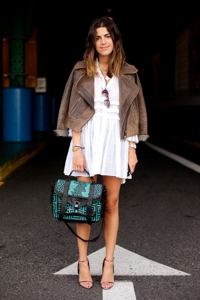 like the white + brown + teal combo (and the heals and sunnies are a nice touch, too)