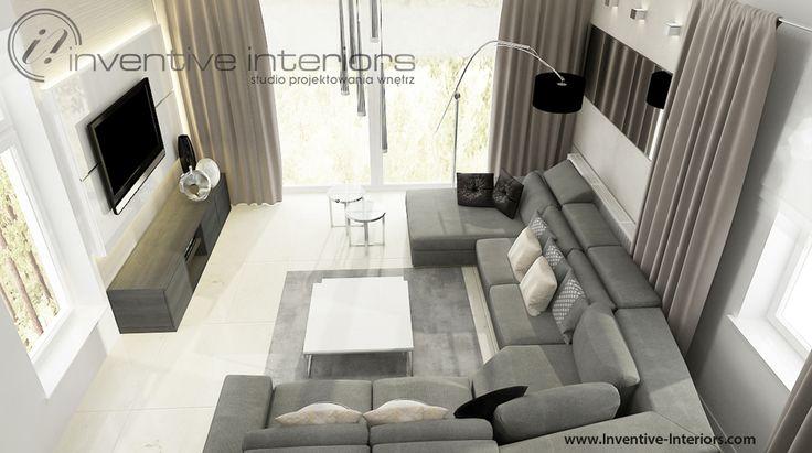 Projekt salonu Inventive Interiors - połączenie bieli, beżu i szarości w jasnym salonie