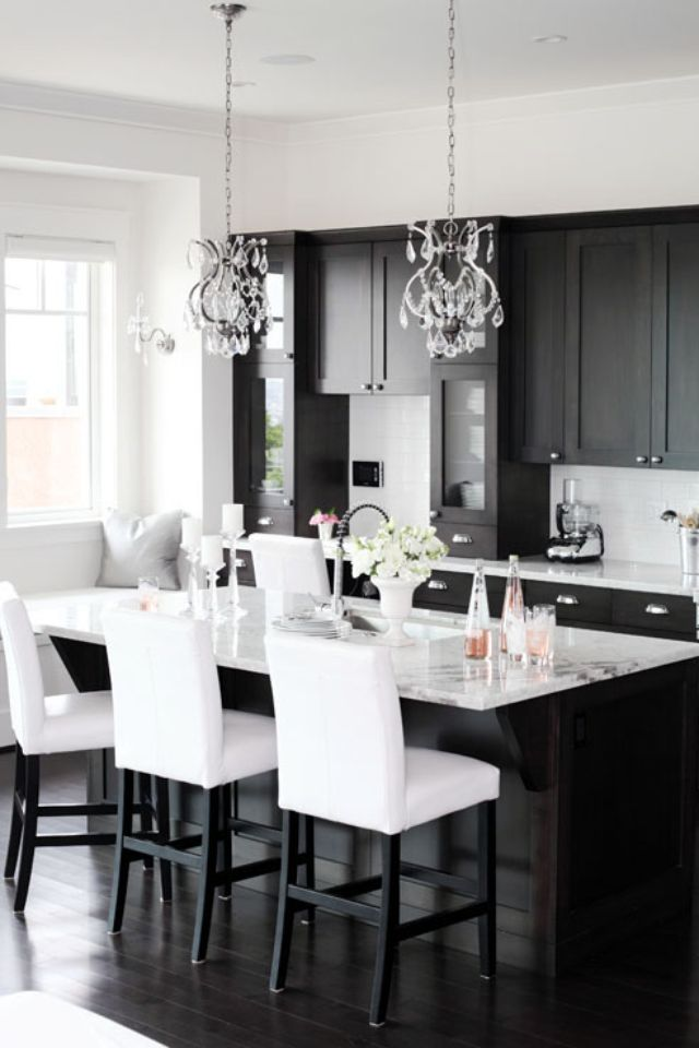 black cabinets white counters chairs walls - Black Kitchen Cabinets Pictures