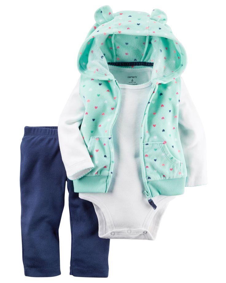 Baby Girl 3-Piece Fleece Vest Set | Carters.com