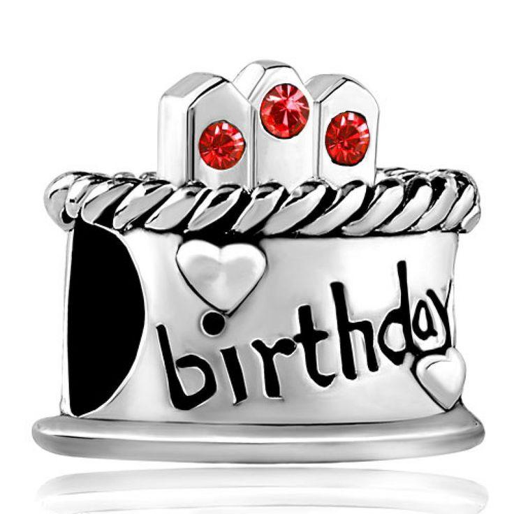 July Stone Birthday Cake Red Crystal Candles Gift Holiday Beads Pandora Chamilia Compatible #birthday #charms #pandora #cake #July #red #candles