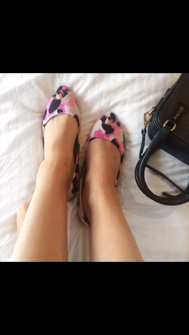 "Lady in pink ""Love Boat"" peep toe flats   Fiebiger"