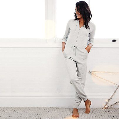 Cashmere Jumpsuit - Silver Gey Marl | The White Company