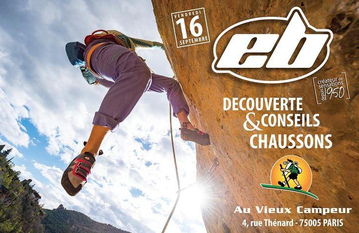 La semaine prochaine il y a les #Championnats du Monde à #Bercy. La semaine prochaine il y a aussi toute l'équipe #EB qui sera présente Au Vieux Campeur #Paris  pour vous faire découvrir et tester nos #chaussons en magasin. Venez donc nombreux le Vendredi 16 Septembre au 4 rue Thénard à Paris. #climbingshoes #ebclimbing #escalade #outdoor #test #climbing