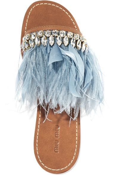 Slight heel Tan leather, sky-blue satin and feathers (Goose, Ostrich) Slip on Feathers: South Africa Made in Italy