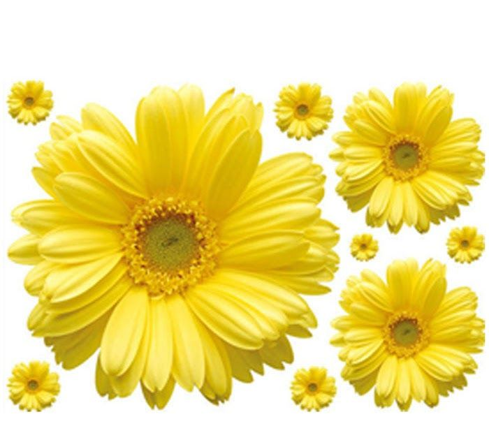 New Yellow Chrysanthemums Wall Sticker Decal Home Decor for Living Bed Room